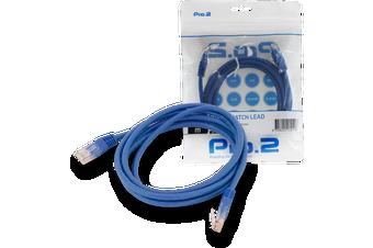 Blue Pro2 2m CAT5e Patch Cable Network Ethernet Internet for PC MAC Router