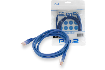 Blue Pro2 2m CAT5e Patch Cable Network Ethernet Internet for PC MAC Router