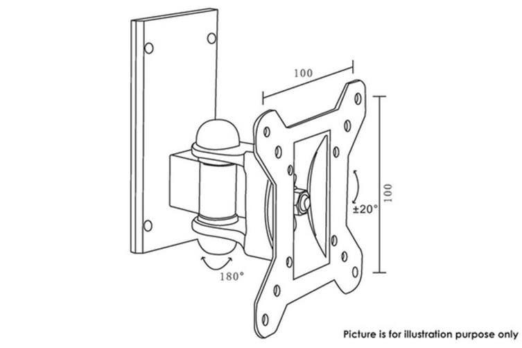 "LCD LED TV Swivel & Tilt Single Stud Wall Mount Bracket 15-24"" Up To 20Kg Black"