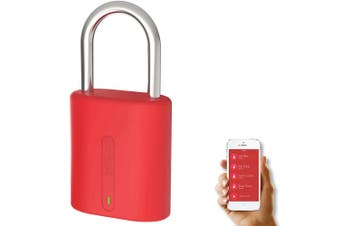 Dog and Bone LockSmart Mini Keyless Padlock Bluetooth Lock for Apple/Samsung Red