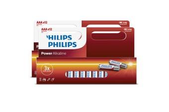 12x2PK Philips AAA Alkaline Single Use Battery 1.5V LR03/ Long Lasting Batteries