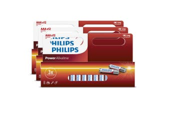 36PK Philips AAA Alkaline Single Use Battery 1.5V LR03/ Long Lasting Batteries