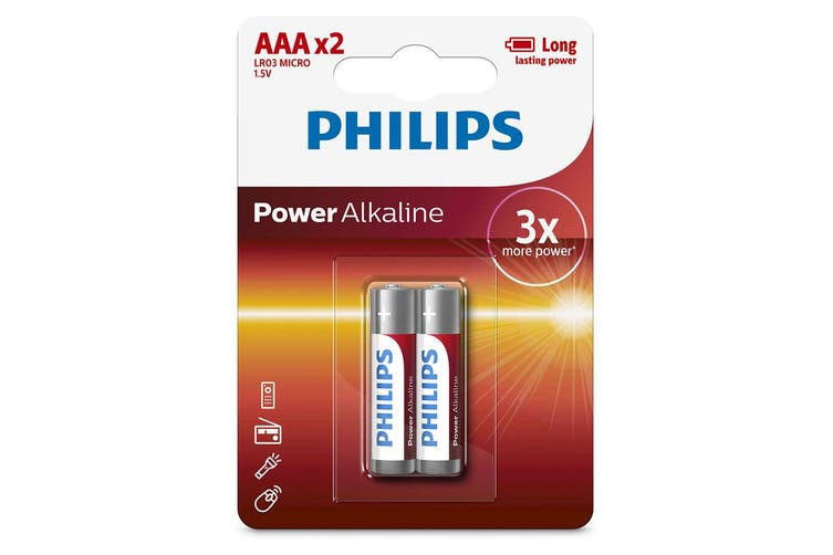 2PK Philips LR03P2B/97 AAA Power Alkaline Battery LR03 Micro 1.5V Long Lasting