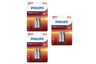 6PK Philips LR03P2B/97 AAA Power Alkaline Battery LR03 Micro 1.5V Long Lasting