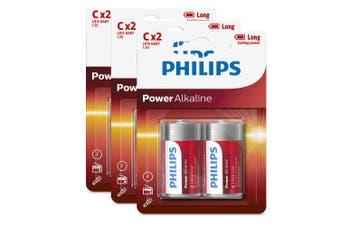 6PK Philips C Alkaline Single Use Battery 1.5V LR14 Long Lasting Batteries