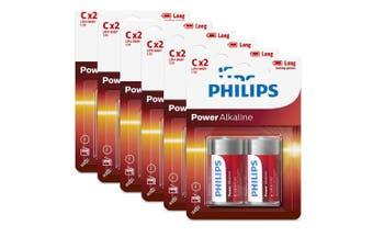 12PK Philips C Alkaline Single Use Battery 1.5V LR14 Long Lasting Batteries