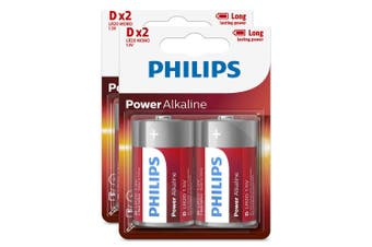 4PK Philips D Alkaline Single Use Battery 1.5V LR20 Long Lasting Batteries