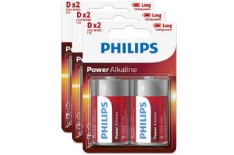6PK Philips D Alkaline Single Use Battery 1.5V LR20 Long Lasting Batteries