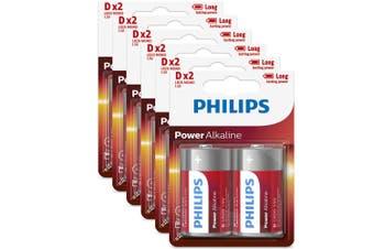 12PK Philips D Alkaline Single Use Battery 1.5V LR20 Long Lasting Batteries