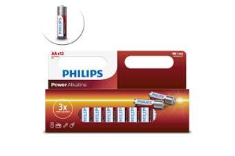 12PK Philips AA Alkaline Single Use Battery 1.5V LR6 Long Lasting Batteries