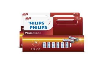2x 12PK Philips AA Alkaline Single Use Battery 1.5V LR6 Long Lasting Batteries