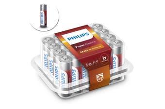 24PK Philips AA Alkaline Single Use Battery 1.5V LR6 Long Lasting Batteries