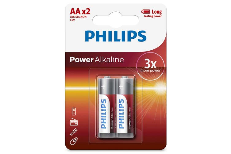 2PK Philips LR6P2B/97 AA Power Alkaline Battery LR6 1.5V Long Lasting Batteries