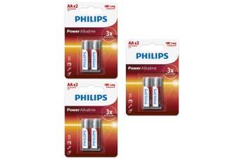 6PK Philips LR6P2B/97 AA Power Alkaline Battery LR6 1.5V Long Lasting Batteries