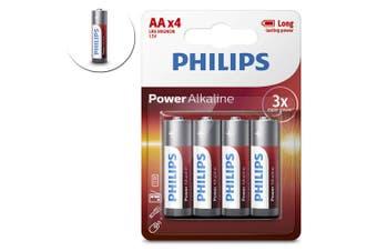 4PK Philips AA Alkaline Single Use Battery 1.5V LR6 Long Lasting Batteries