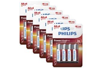 6x 4PK Philips AA Alkaline Single Use Battery 1.5V LR6 Long Lasting Batteries