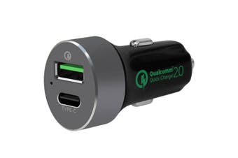 QuickBoost QC 2.0 Smart Dual Port USB/USB-C Car Charger for iPhone/Android/iPad