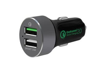 QuickBoost QC 2.0 Smart Dual Port USB Car Charger for iPhone/Android/iPad