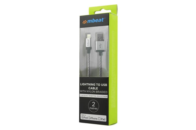 mbeat 2m Sync/Charging Lightning to USB Cable/Lead for iPhone/iPad/iPod Silver