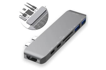 Mbeat 7in1 Multiport USB-C Hub USB 3.0/HDMI/Card Reader/Adapter for MacBook