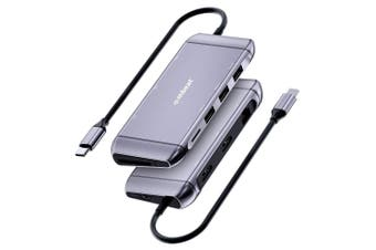 Mbeat 9in1 Elite X11 4K HDMI USB-C RJ45 Ethernet Micro SD Dock Hub Adapter GRY