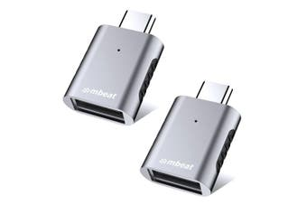 2PK Mbeat Elite X1 USB-C Male to USB-A Female Adapter USB Data Connector Grey