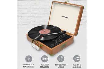 Aria Retro Turntable w/ Bluetooth Speaker/AUX/USB Direct Recording Briefcase