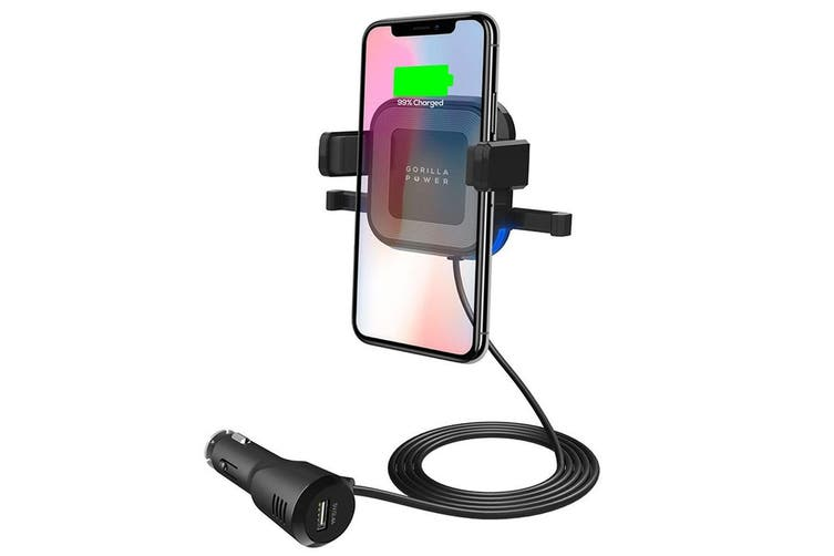 Mbeat Gorilla Power 10W Wireless Car Charger USB Air Vent for iPhone/Samsung BLK
