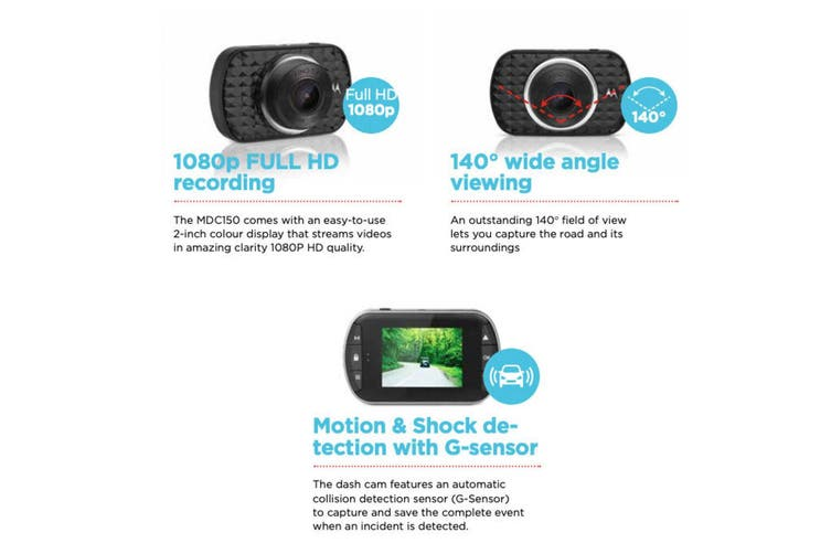 Motorola Car Dashboard Camera Full HD 1080P Dash Cam Video Wide Angle Recorder