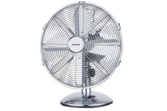 Heller 30cm Desk/Floor Oscillating Fan/Tilt/Air Cooling/Cooler/Metal/Chrome