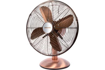 Heller 30cm Desk/Floor Oscillating Fan/Tilt/Air Cooling/Cooler/Metal/Copper