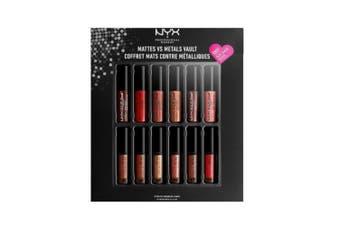 12pc NYX 1.6ml Liquid Suede Cream Mattes vs Metals Vault Travel Lipstick Assort.