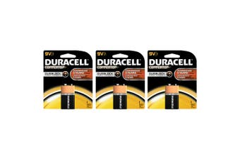 3x Genuine Duracell 9V Alkaline Coppertop Multi Purpose Battery 6LF22 (9 Volt)