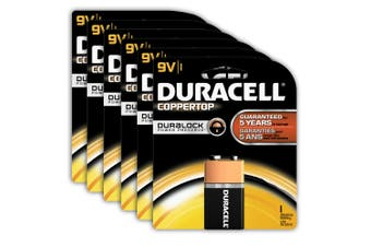 6x Genuine Duracell 9V Alkaline Coppertop Multi Purpose Battery 6LF22 (9 Volt)