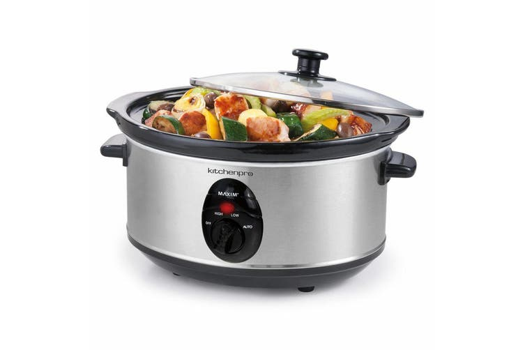 Maxim Kitchen Pro 3.5L 240W Stainless Steel Food Slow Cooker w/ Ceramic Bowl/Pot