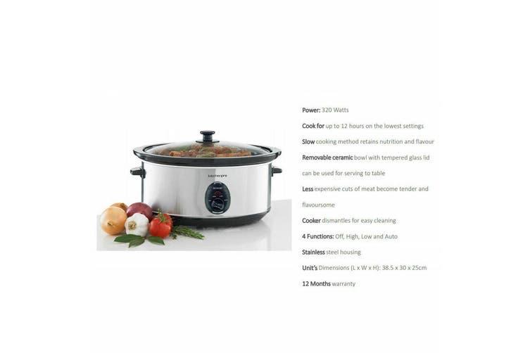 Maxim Kitchen Pro 6L 320W Stainless Steel Food Slow Cooker w/ Ceramic Bowl/Pot