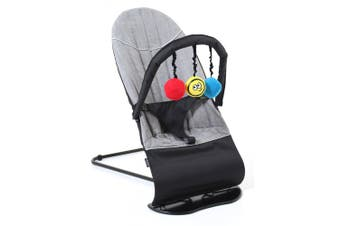 Vee Bee Baby Minder Cushioned Rocker/Bouncer for Infant Seat/Chair w/Toys Gray