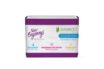12PC New Beginnings Bamboo Ultra Slim Absorbent Maternity Day/Night Sanitary Pad