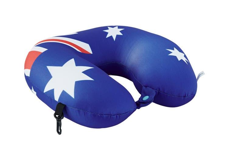 2PK Australian Flag Micro Bead Neck Cushion/Support Travel Pillow w/ Clip/Button