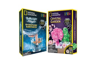 2PK National Geographic Hydrophobic Substances & Crystal Garden Kids Activity 8+