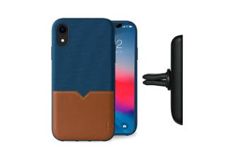 Evutec Case Cover AFIX+ Magnetic w/ Car Mount for Apple iPhone XR Blue/Saddle