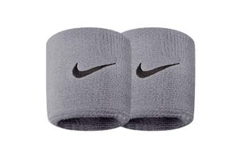 Nike Swoosh Sports Running Sweat/Wristbands Basketball Gym Workout Fitness Grey
