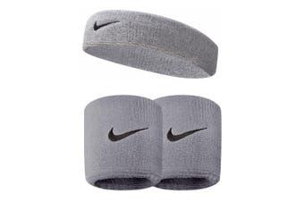 Nike Swoosh Gym/Running Sweat Headband w/ 1 Pair Wristbands Fitness Workout Grey