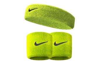 Nike Swoosh Running Sweat Headband w/ 1 Pair Wristbands Fitness Workout Neon GRN