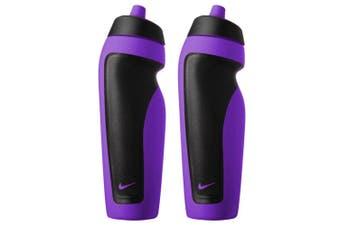 2x Nike 600ml Water Bottle Training Hydration Sports Drink BPA Free Vivid Purple