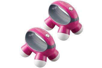 2x HoMedics QuaD Portable Electric Hand Held Vibration Massager Body/Back - Pink