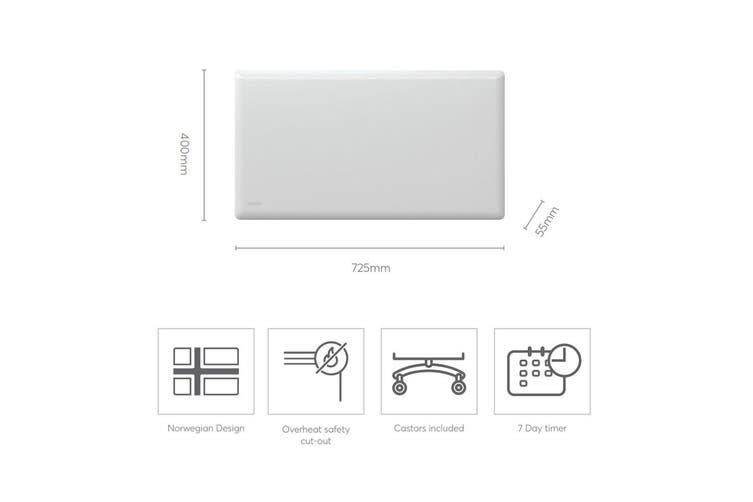 Nobo 1000W Slimline Portable Indoor Electric Panel Heater w/ Castors/Timer  White - Kogan.com