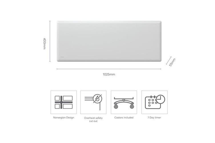 Nobo 1500W Electric Panel Heater IP24 w/Timer & Castors f Bedroom/Bathroom White