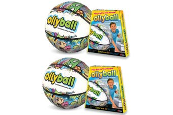 2PK Ollyball 30.5cm Indoor/Outdoor Game Volleyball/Soccer Shock Absorb Ball 4y+