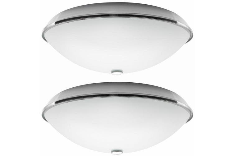 Dick Smith 2pk Heller Brushed Stainless Steel Oyster 75w Lamp E27 Light Kit For Ceiling Fan Lighting Ceiling Lights